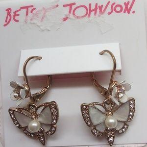 Betsey Johnson New White Butterfly Earrings